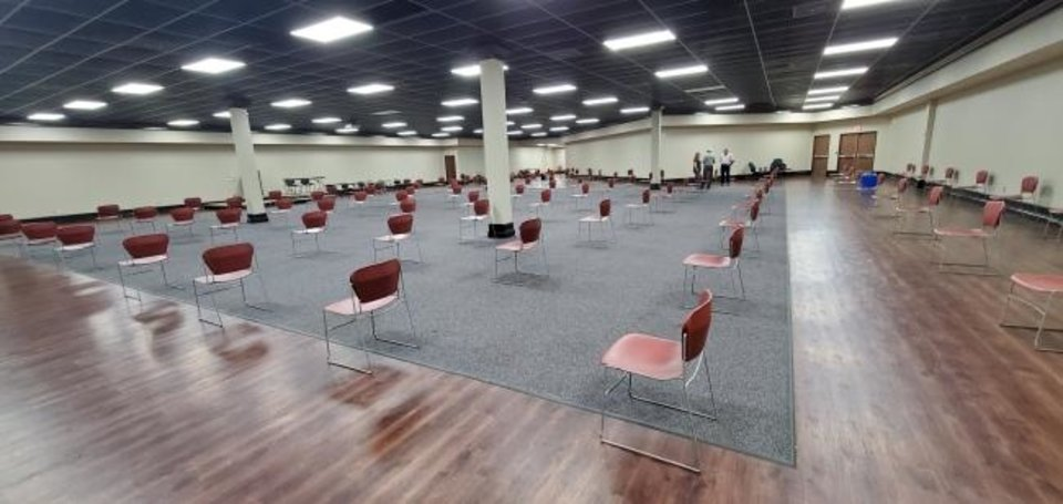 Photo -  Chairs are spaced for social distancing because of the coronavirus for the Oklahoma County Treasurer's Resale — the auctioning of properties for taxes owed — starting June 8 at the Oklahoma County Election Board, 4201 N Lincoln Blvd. [PROVIDED]