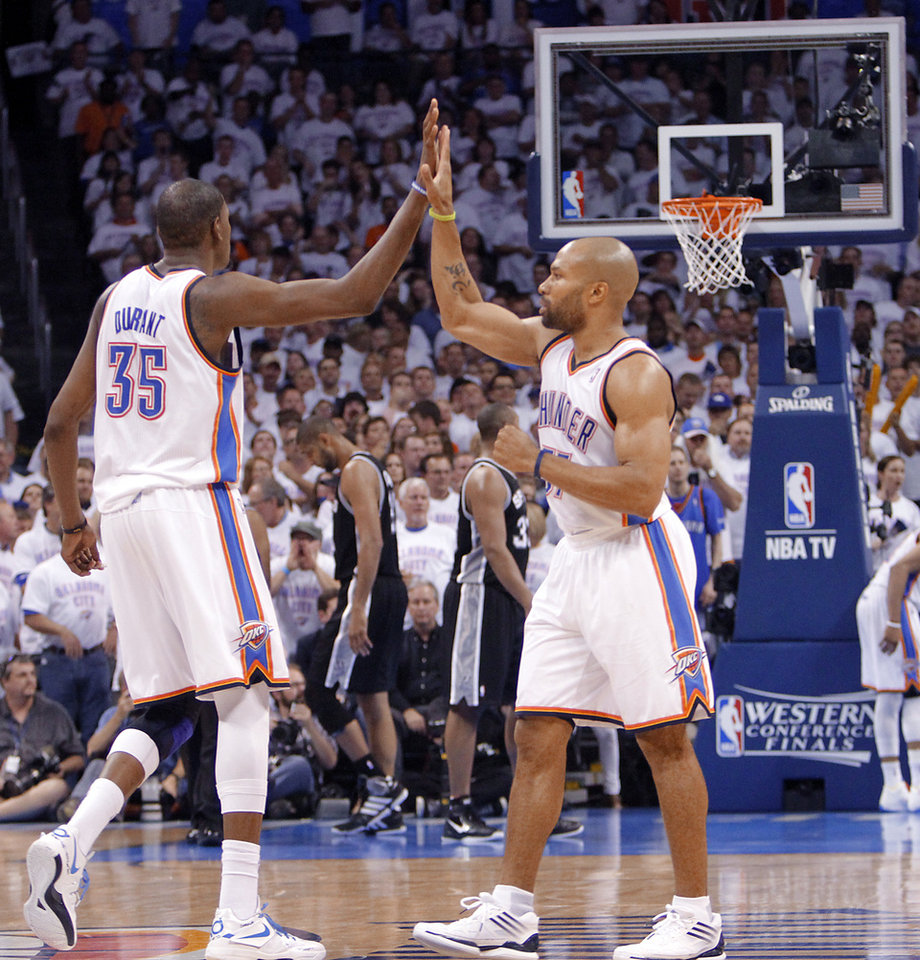 Oklahoma City's Kevin Durant (35) and Oklahoma City's Derek Fisher (37) react during Game 6 of the Western Conference Finals between the Oklahoma City Thunder and the San Antonio Spurs in the NBA playoffs at the Chesapeake Energy Arena in Oklahoma City, Wednesday, June 6, 2012. Photo by Chris Landsberger, The Oklahoman