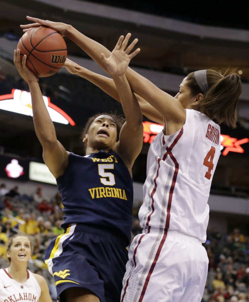 Photo - West Virginia' Averee Fields (5) has her shot attempt blocked by Oklahoma's Nicole Griffin (4) in the first half of an NCAA college basketball game in the Big 12 women's tournament Saturday, March 9, 2013, in Dallas. (AP Photo/Tony Gutierrez)