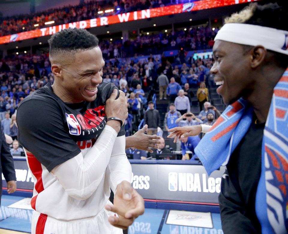 Photo - Houston's Russell Westbrook (0) talks with Oklahoma City's Dennis Schroder (17) following the NBA basketball game between the Oklahoma City Thunder and the Houston Rockets at the Chesapeake Energy Arena in Oklahoma City,  Thursday, Jan. 9, 2020.  [Sarah Phipps/The Oklahoman]