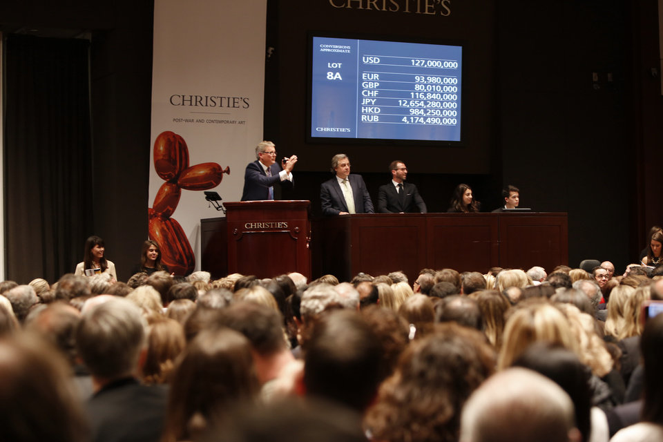 Photo - This Tuesday, Nov. 12, 2013 photo provided by Christie's New York shows the bidding during the auction for the 1969 painting by Francis Bacon,