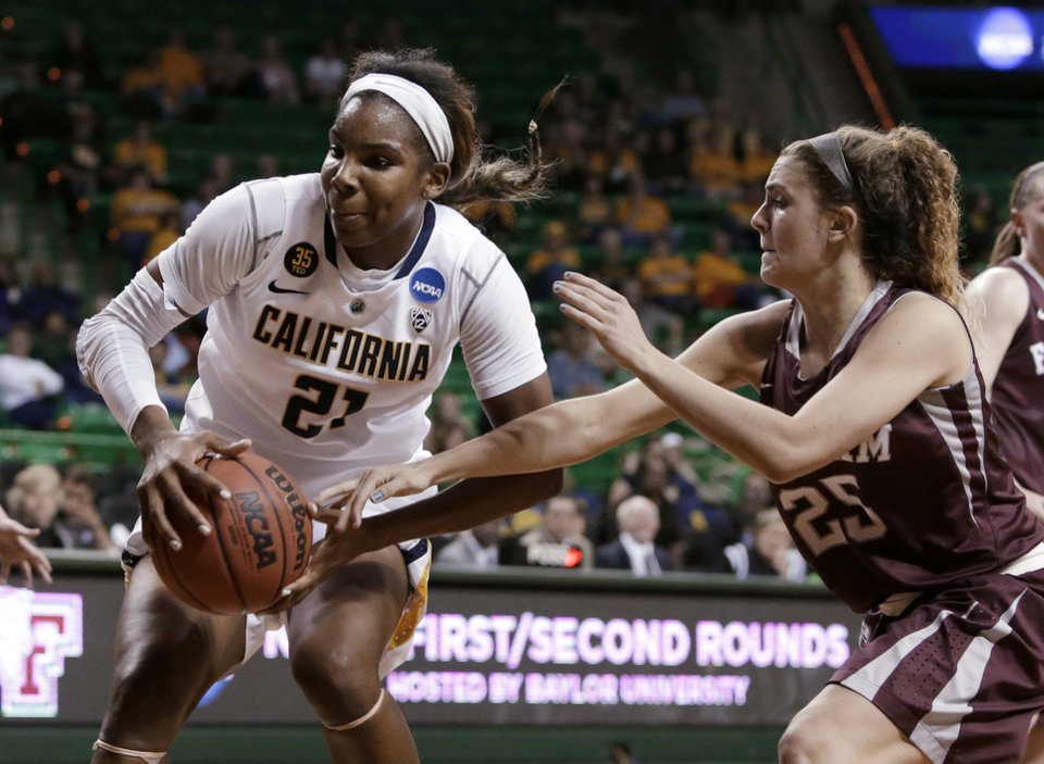 Photo - California's Reshanda Gray (21) prepares to go up for a shot as Fordham's Hannah Missry (25) defends in the first half of a first-round game in the NCAA women's college basketball tournament, Saturday, March 22, 2014, in Waco, Texas. (AP Photo/Tony Gutierrez)