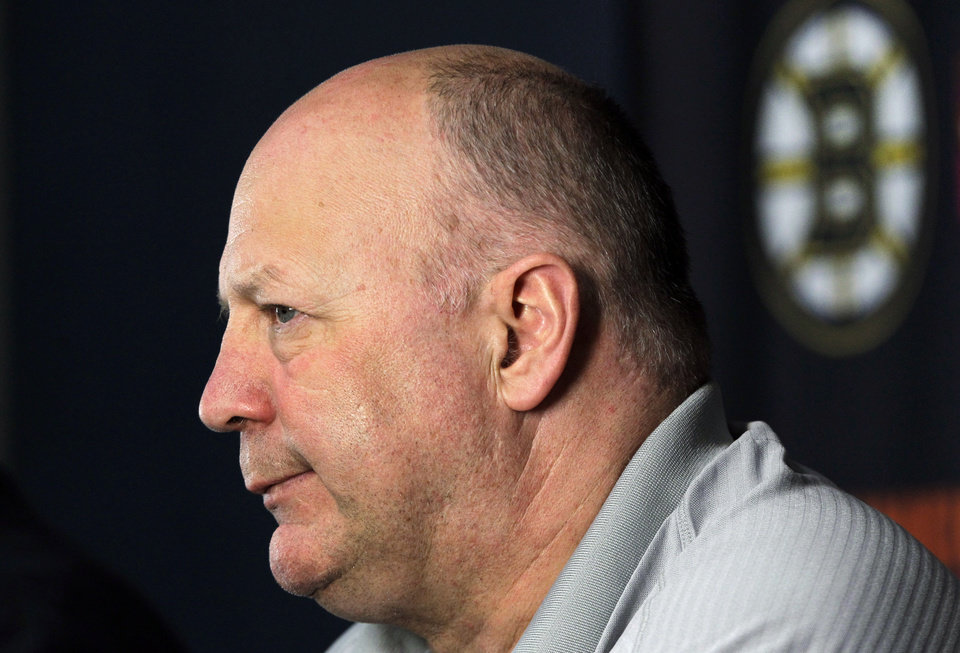 Photo -   Boston Bruins head coach Claude Julien speaks to reporters at TD Garden in Boston, Friday, April 27, 2012, about their loss to the Washington Capitals in Game 7 and the Bruins' elimination from the Stanley Cup hockey playoffs. (AP Photo/Elise Amendola)