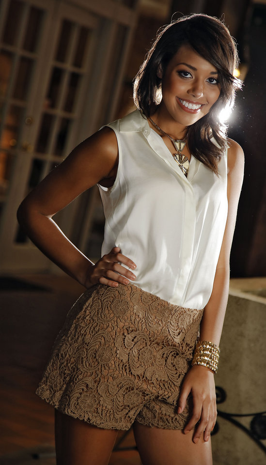 Photo - Lace shorts, blouse, necklace and cuff, all by Gianni Bini, and Sam Edelman sparkly sandals are available at Dillard's, Penn Square.  Model is Shelley. Makeup by Natasha Emamghoraishi, Sooo Lilly Cosmetics. Photo by Chris Landsberger, The Oklahoman.   CHRIS LANDSBERGER