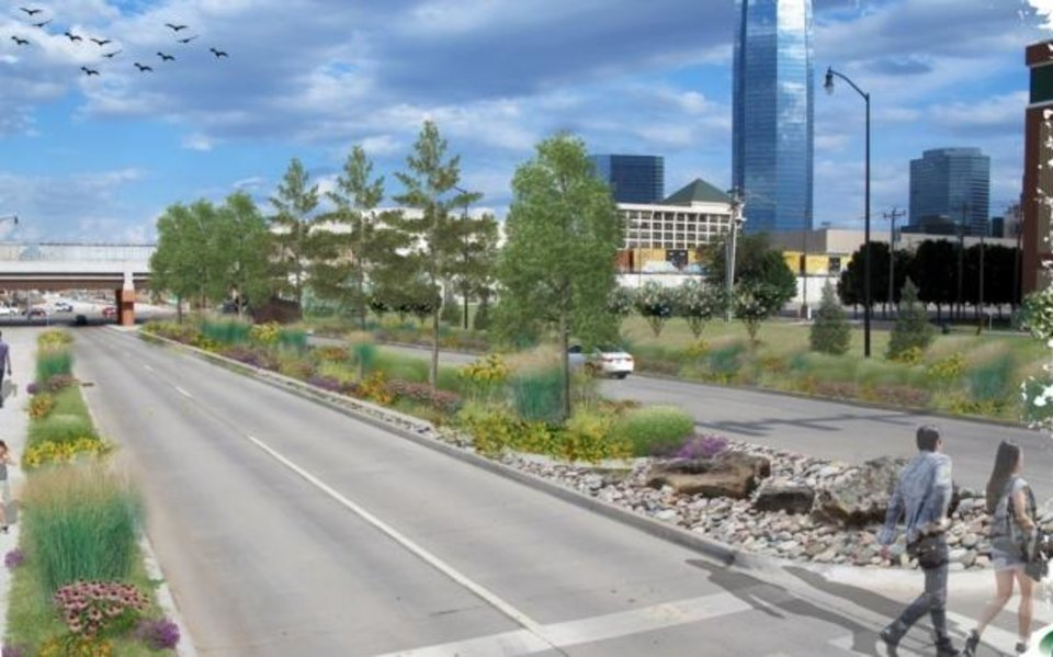 Photo -  The landscaped boulevard heading west toward Scissortail Park is shown in this rendering. [Provided]