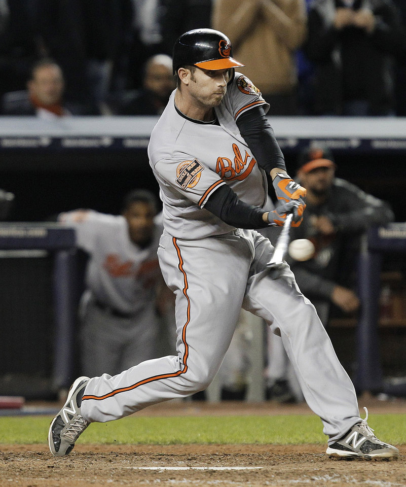 Photo -   Baltimore Orioles' J.J. Hardy hits an RBI double during the 13th inning of Game 4 of the American League division baseball series against the New York Yankees on Thursday, Oct. 11, 2012, in New York. The Orioles won 2-1. (AP Photo/Kathy Willens)
