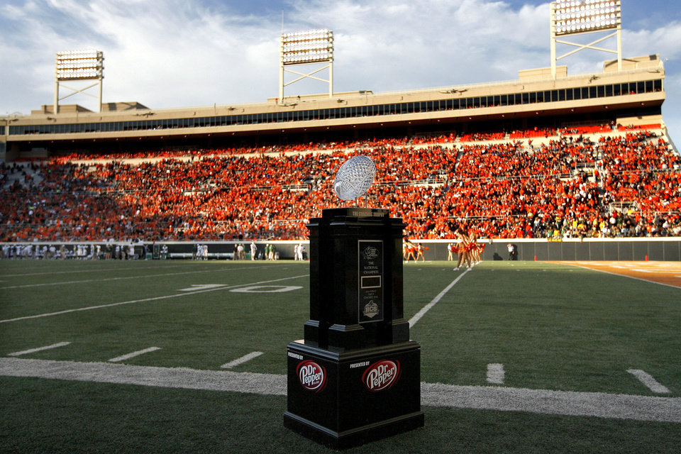 BCS National Championship Coaches' Trophy is displayed during a college football game between the Oklahoma State University Cowboys (OSU) and the Baylor University Bears (BU) at Boone Pickens Stadium in Stillwater, Okla., Saturday, Oct. 29, 2011. Photo by Sarah Phipps, The Oklahoman  ORG XMIT: KOD