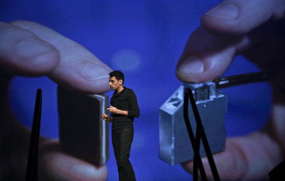 Pranav Mistry, a researcher at MIT who developed SixthSense technology, speaks Wednesday during the Creativity World Forum at the Cox Convention Center in Oklahoma City.  Photo by Chris Landsberger, The Oklahoman ORG XMIT: KOD <strong>CHRIS LANDSBERGER - CHRIS LANDSBERGER</strong>