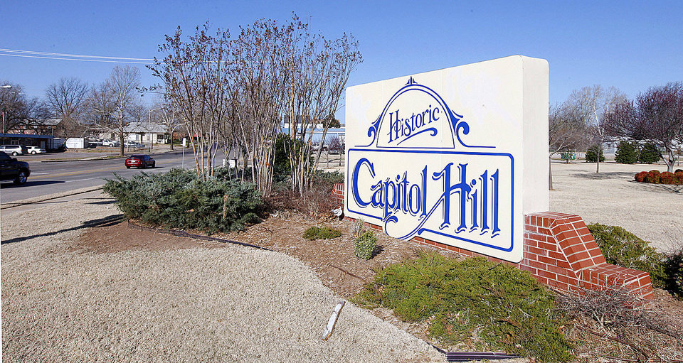 Photo - A sign stands at the entrance to the Capitol Hill District at SW 25 and Shields Boulevard in Oklahoma City.