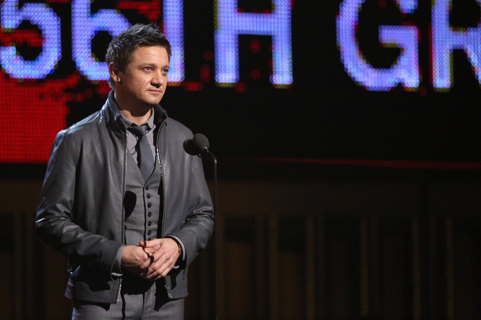 Photo - Jeremy Renner introduces a performance by Willie Nelson, Kris Kristofferson, Merle Haggard and Blake Shelton at the 56th annual Grammy Awards at Staples Center on Sunday, Jan. 26, 2014, in Los Angeles. (Photo by Matt Sayles/Invision/AP)