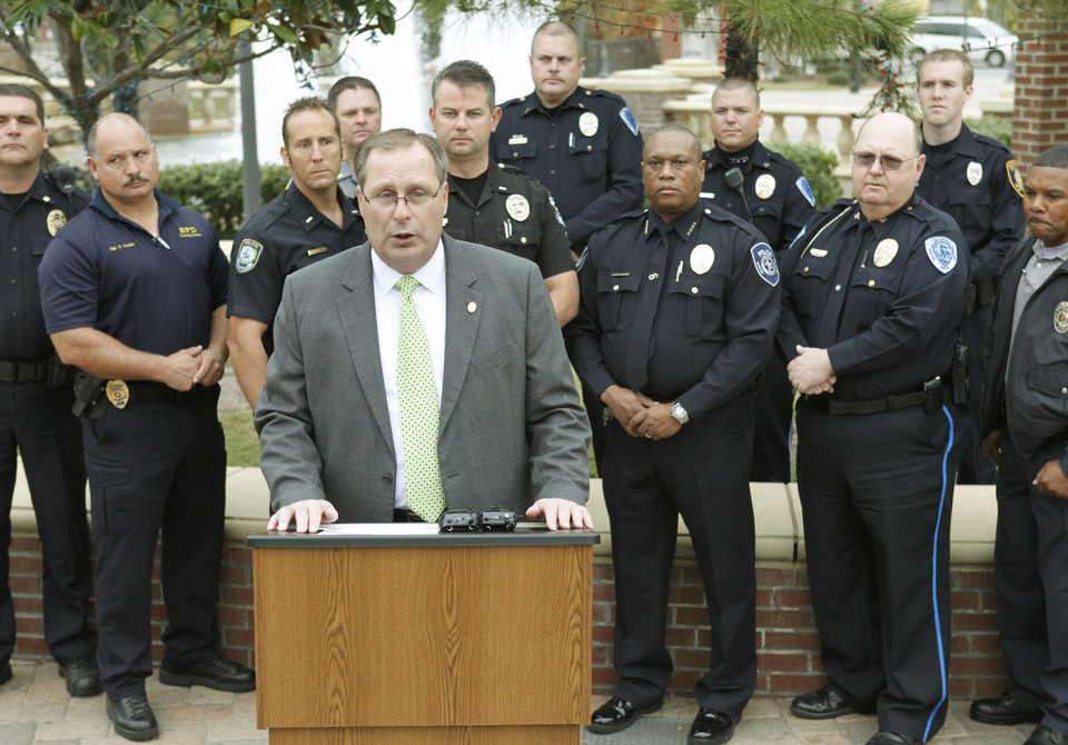 "Chris Thomas, Chairman of the Metro Area Traffic Safety Council, announces a campaign for safe driving called ""More Cops, More Stops"", during a news conference in front of Harkins Theatre in Oklahoma City, OK, Monday, Nov. 14, 2011. By Paul Hellstern, The Oklahoman"