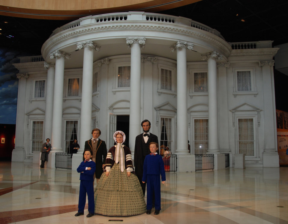Photo -  The Abraham Lincoln family greet visitors at the Abraham Lincoln Presidential Library and Museum in Springfield, Illinois. PHOTO PROVIDED BY NANCY LEONARD