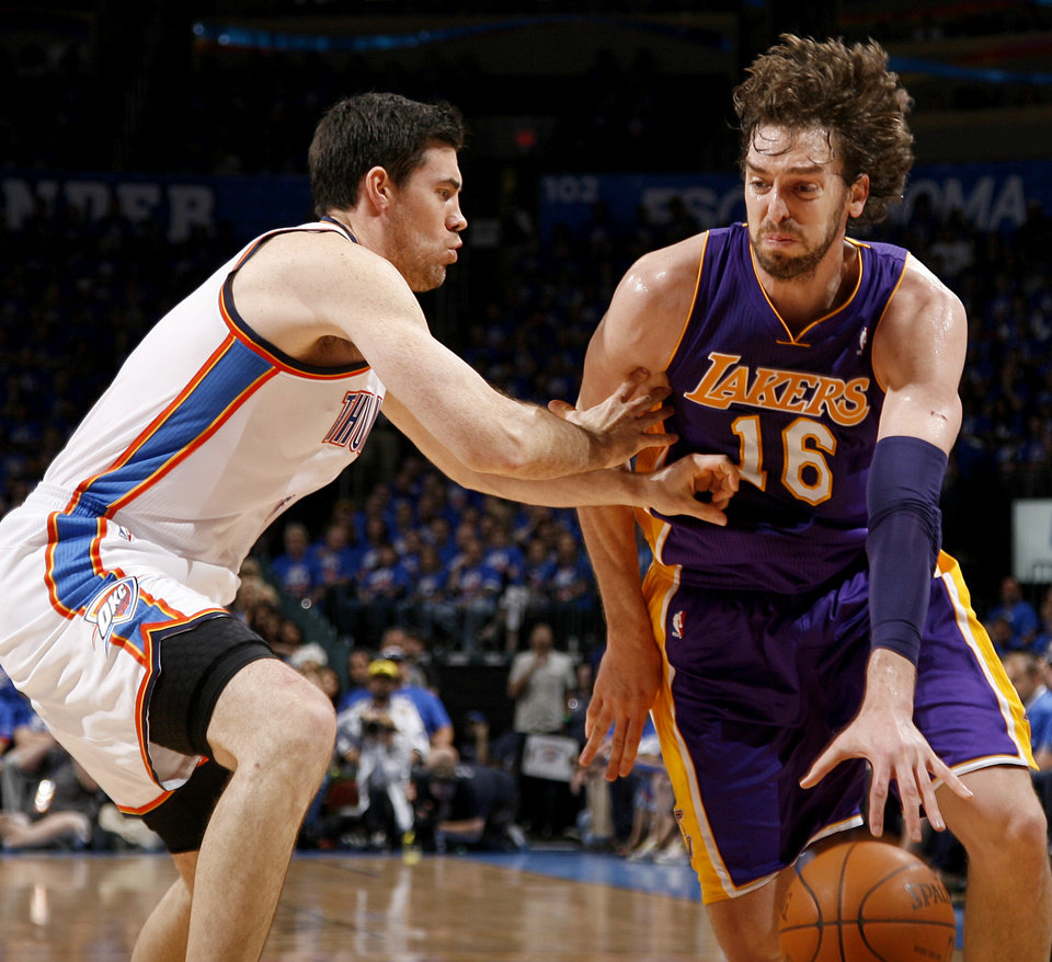 Los Angeles\' Pau Gasol (16) drives past Oklahoma City\'s Nick Collison (4) during Game 5 in the second round of the NBA playoffs between the Oklahoma City Thunder and the L.A. Lakers at Chesapeake Energy Arena in Oklahoma City, Monday, May 21, 2012. Photo by Bryan Terry, The Oklahoman