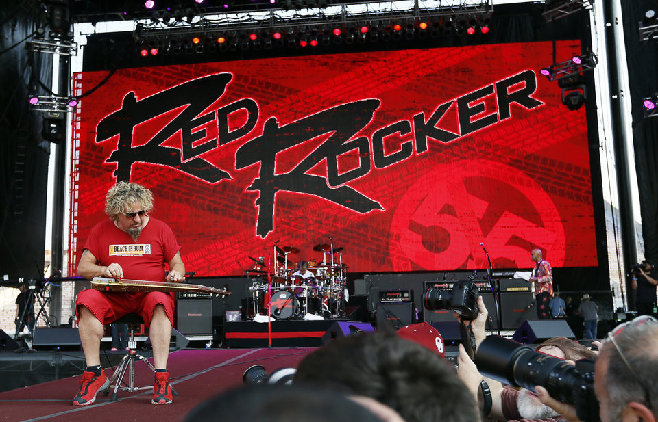 Photo - Sammy Hagar performs during the Oklahoma Twister Relief Concert, benefiting victims of the May tornadoes, at Gaylord Family - Oklahoma Memorial Stadium on the campus of the University of Oklahoma in Norman, Okla., Saturday, July 6, 2013. Photo by Nate Billings, The Oklahoman