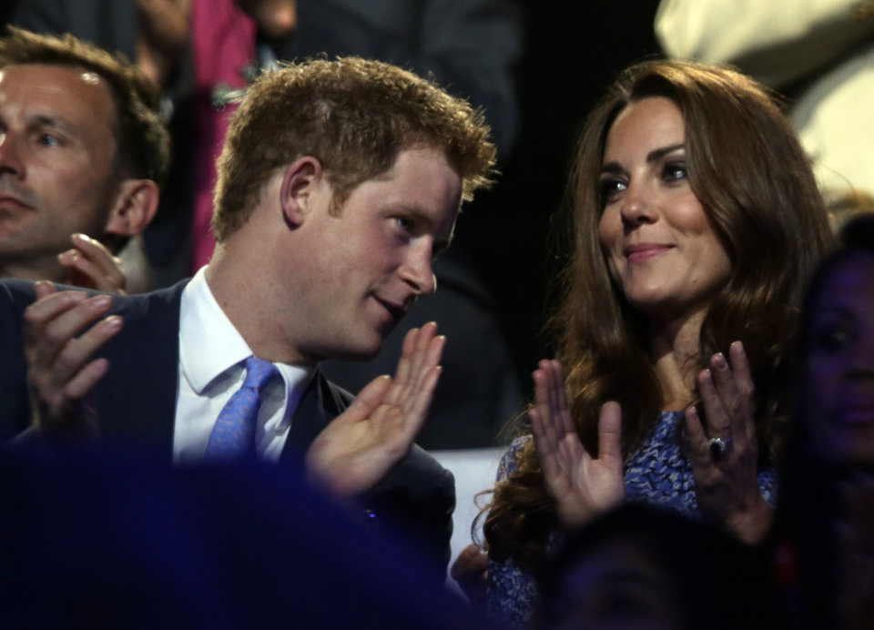 Photo -   Catherine, Duchess of Cambridge, and Britain's Prince Harry watch the Closing Ceremony at the 2012 Summer Olympics, Sunday, Aug. 12, 2012, in London. (AP Photo/Charlie Riedel)