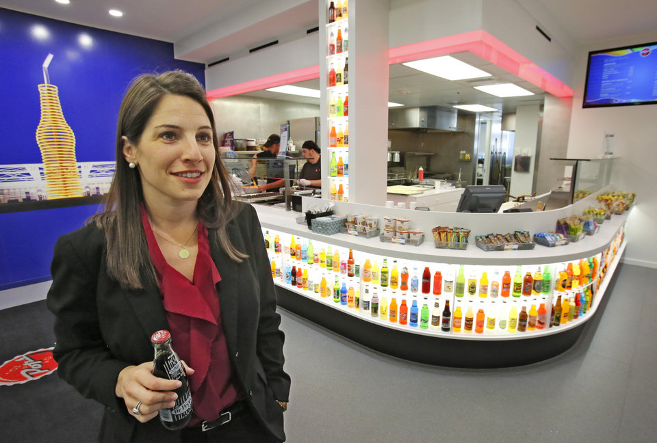 Photo -  The Pop's Deli, located at the 301 NW 63 headquarters of American Energy Partners, is just one of many perks employee Sarah Croasdale said she welcomes. Other onsite amenities include a 24-hour gym and weekly car wash and drycleaning dropoff/pickup services. Photo by David McDaniel   David McDaniel -  The Oklahoman