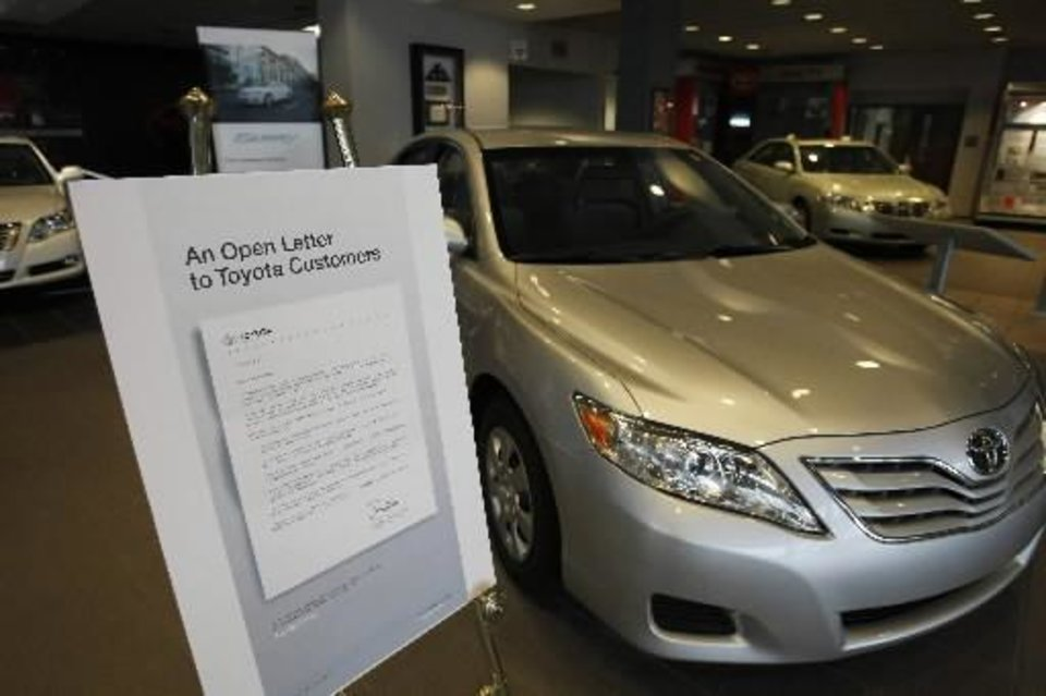 Photo - The open letter that was sent to  Toyota owners is displayed in the visitor center at the  Toyota Motor Manufacturing, Kentucky plant in Georgetown, Ky., Thursday, Feb. 18, 2010. (AP Photo/Ed Reinke)