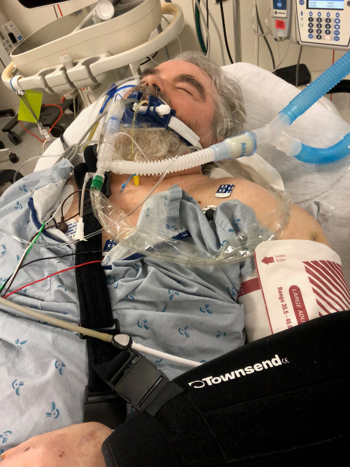 Photo -  Myron Ballou, 70, developed pneumonia after a stay at Rolling Hills Hospital in Ada. His left arm is in a sling because of a dislocated shoulder. [Photo provided by Marsha Ballou]