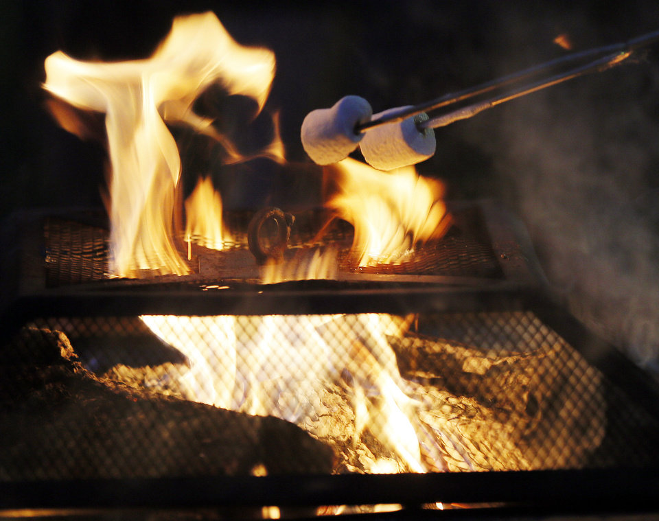 Photo - An outdoor fire toasts marshmallows during the holiday lighting ceremony at Rose State College.