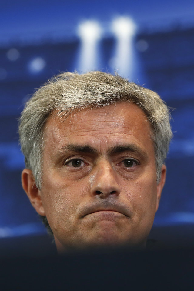 Photo - Chelsea's coach Jose Mourinho from Portugal pauses during a press conference ahead of Tuesday's Champions League, semifinal, first leg, soccer match against Atletico Madrid, at the Vicente Calderon stadium, in Madrid, Spain, Monday, April 21, 2014. (AP Photo/Andres Kudacki)