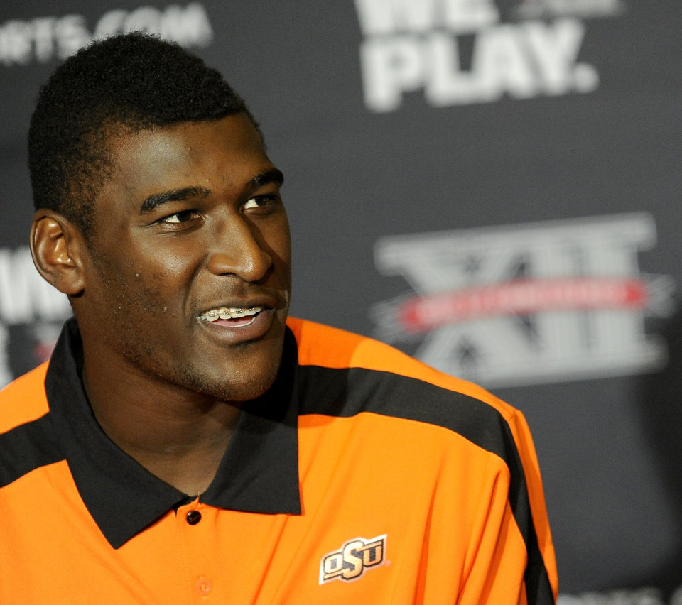 Oklahoma State wide receiver Justin Blackmon answers questions during NCAA college football Big 12 Media Days, Monday, July 25, 2011, in Dallas. (AP Photo/Matt Strasen)