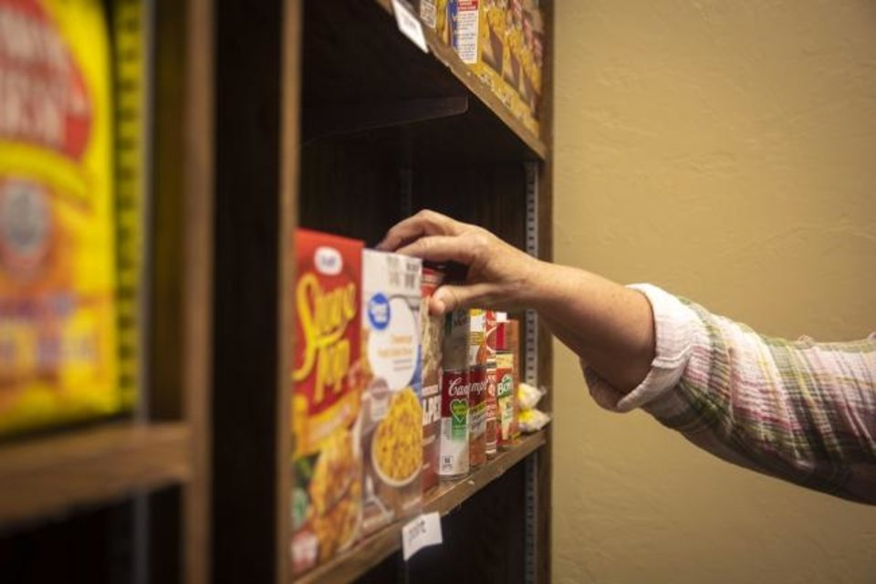 Photo -  The Good Things Food Pantry provides Oklahoma Baptist University students with needed food items in order to promote success inside and outside the classroom. [Heather Hamilton/OBU Photos]