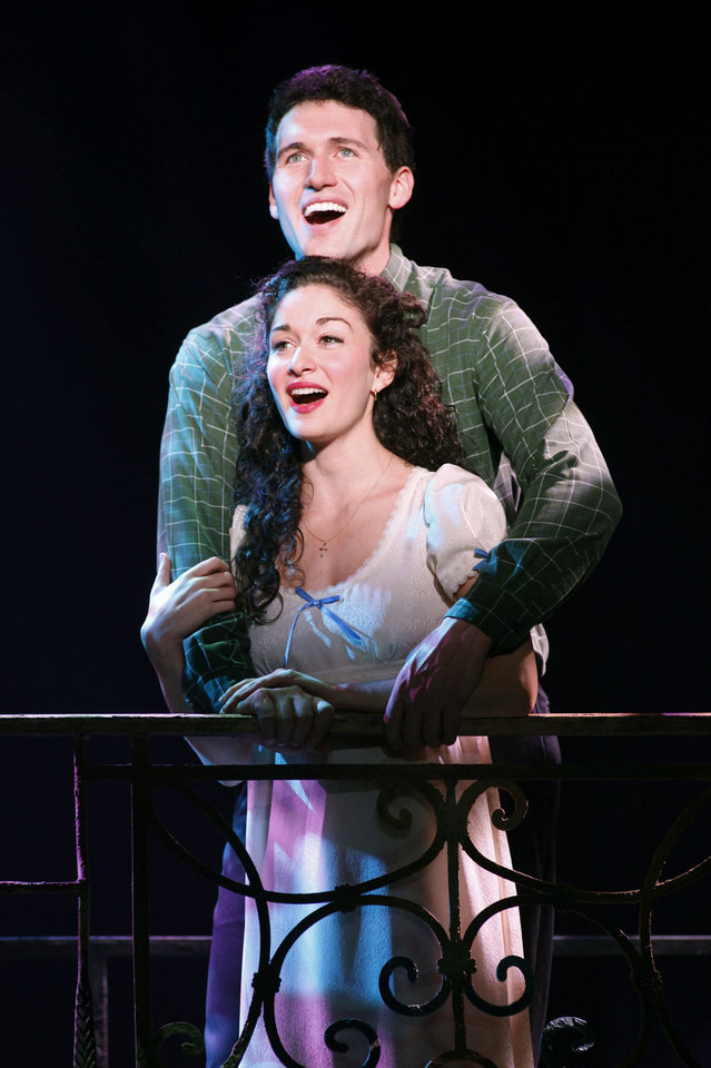 Tony (Addison Reid Coe) and Maria (MaryJoanna Grisso) in the famous balcony scene.   Photo by Carol Rosegg <strong>Photo by Carol Rosegg</strong>