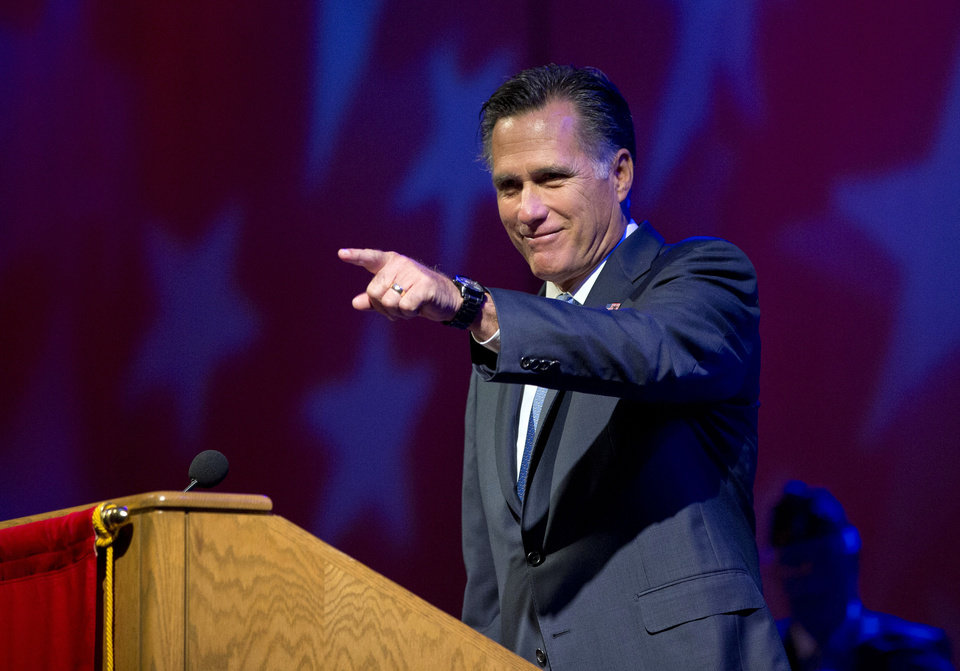 Photo -   Republican presidential candidate, former Massachusetts Gov. Mitt Romney speaks at the American Legion National Convention, Wednesday, Aug. 29, 2012, in Indianapolis. (AP Photo/Evan Vucci)