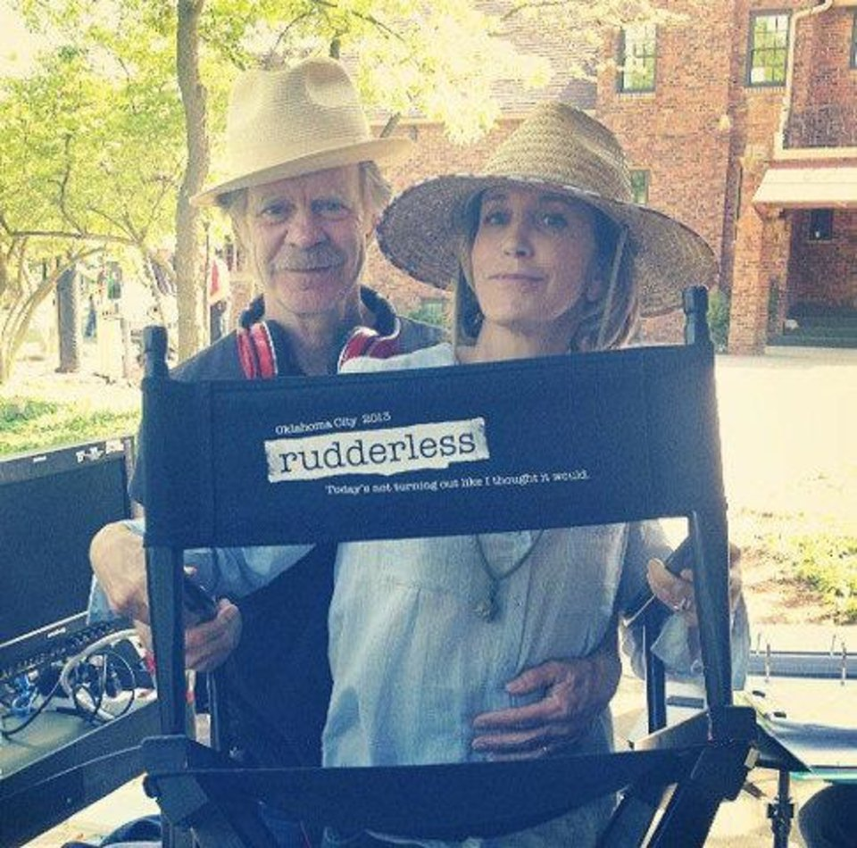Photo - William H. Macy and wife Felicity Huffman are shown on the set of
