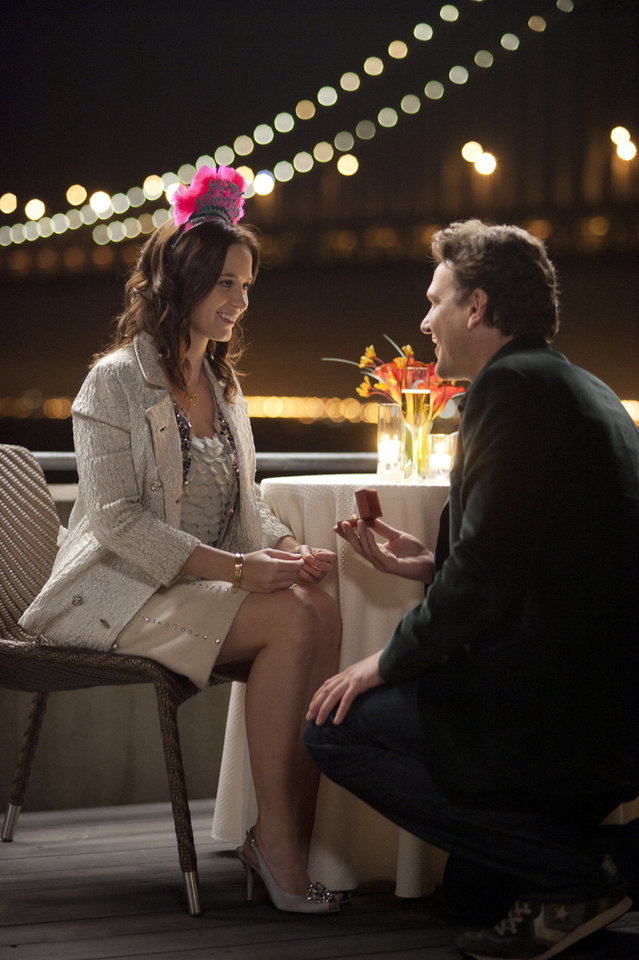 "Jason Segel and Emily Blunt are shown in a scene from ""The Five-Year Engagement."" UNIVERSAL PICTURES PHOTO <strong>Glen Wilson</strong>"