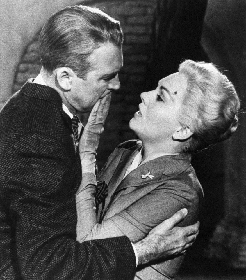 FILE - This undated film image released by Paramount shows, Jimmy Stewart, left, and Kim Novak, in a scene from Alfred Hitchcock\'s 1958 film,