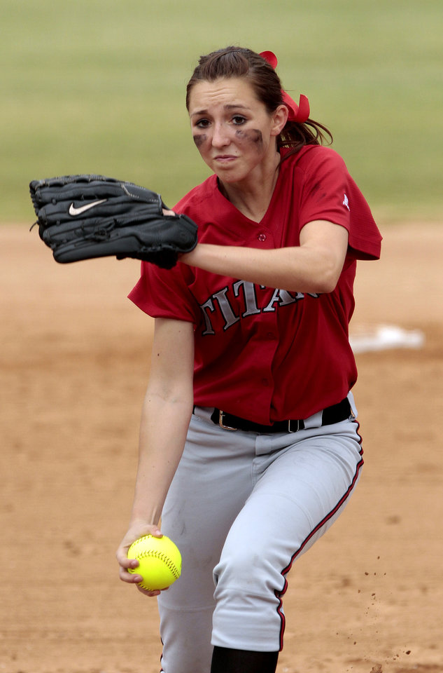Photo - Carl Albert pitcher Abby Meador throws to a Collinsville batter at the 2012 State Fast-Pitch Softball Tournament on Thursday, Oct. 11, 2012 at ASA Hall of Stadium in Oklahoma City, Okla.  Photo by Steve Sisney, The Oklahoman