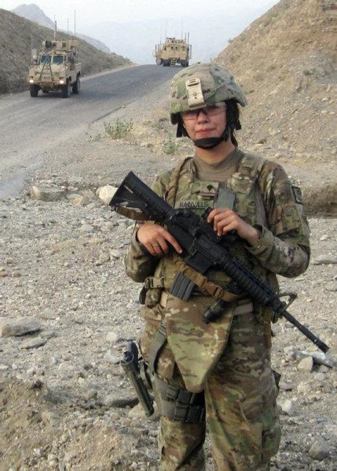 Photo - Spc. Alyssa Rainville serves on the personal security detail for the commander of the 45th Infantry Brigade Combat Team in Afghanistan. She is the only female member of her platoon.  PROVIDED - PROVIDED