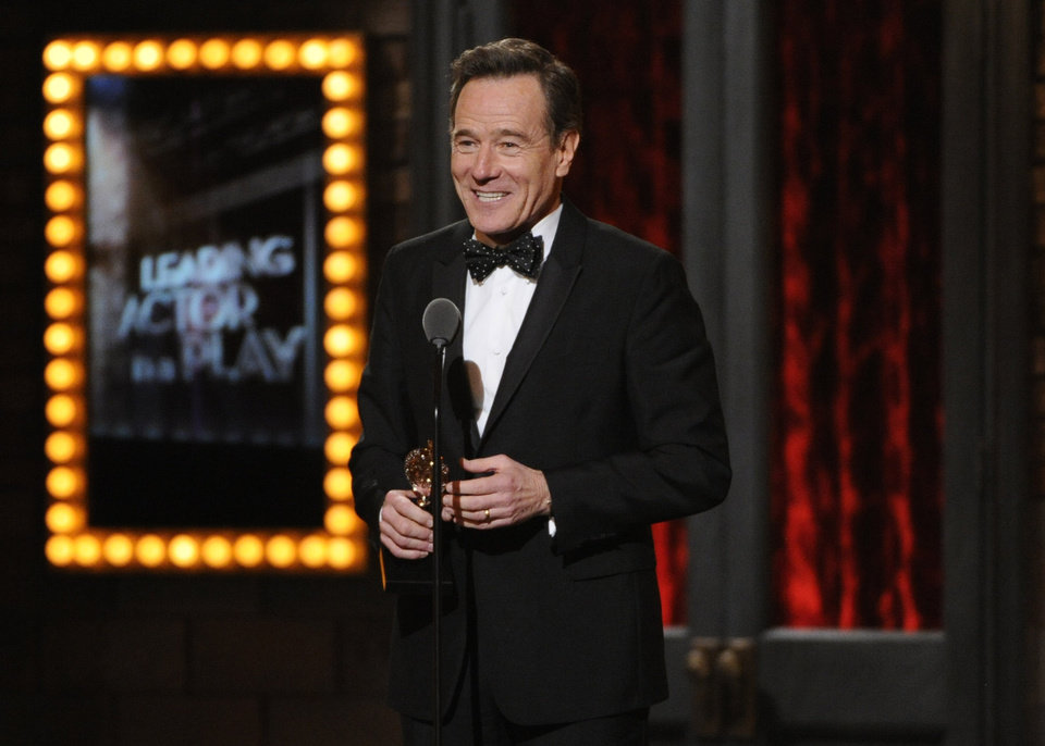 "Photo - Bryan Cranston accepts the award for best performance by an actor in a leading role in a play for ""All The Way"" on stage at the 68th annual Tony Awards at Radio City Music Hall on Sunday, June 8, 2014, in New York. (Photo by Evan Agostini/Invision/AP)"