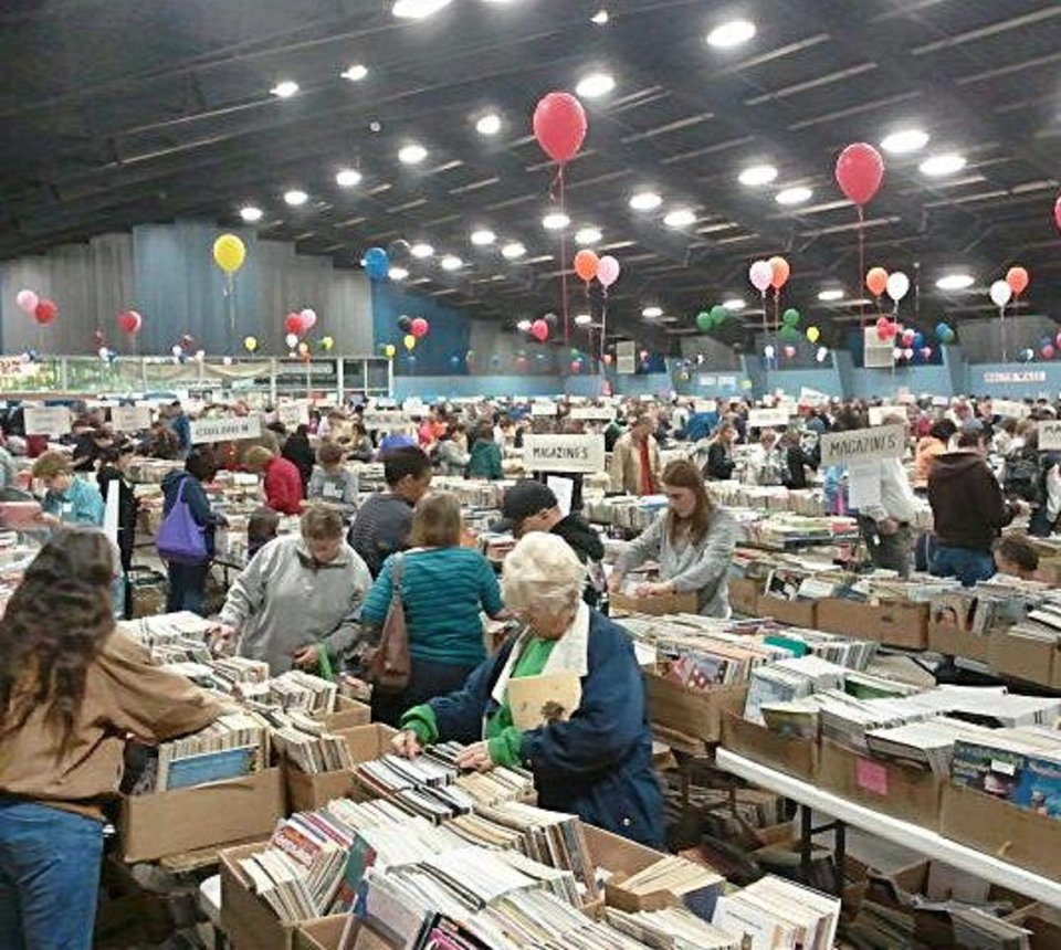 A scene from last year's book sale. PHOTO PROVIDED BY FRIIENDS OF THE LIBRARY <strong></strong>