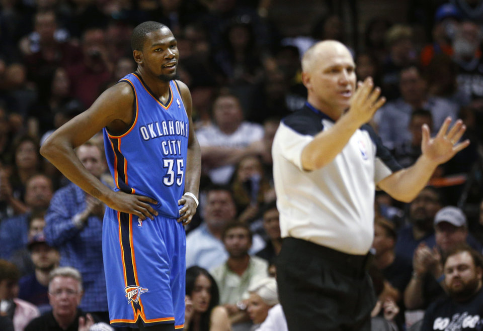 Oklahoma City's Kevin Durant (35) looks towards an official during Game 2 of the Western Conference Finals in the NBA playoffs between the Oklahoma City Thunder and the San Antonio Spurs at the AT&T Center in San Antonio, Wednesday, May 21, 2014. Photo by Sarah Phipps, The Oklahoman