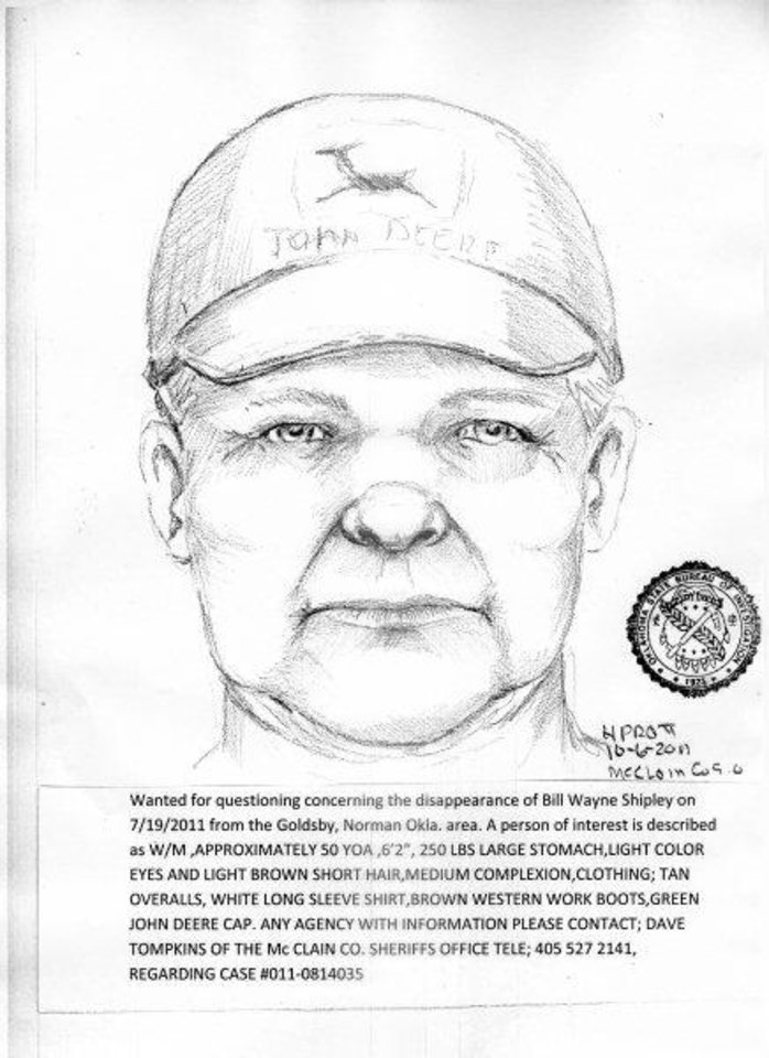 Photo - Bill Dwayne Shipley, of Goldsby, was reported missing. Police released  the sketch above of a person of interest in the case.