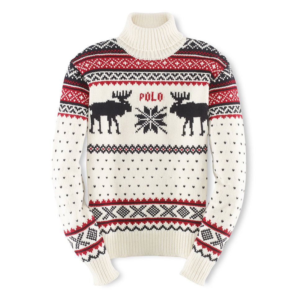 This undated product image provided by Ralph Lauren shows a reindeer turtleneck, part of the official gear of the U.S. Olympic team. Every article of clothing made by Ralph Lauren for the U.S. Olympic athletes in Sochi has been made by domestic craftsman and manufacturers. (AP Photo/Ralph Lauren)