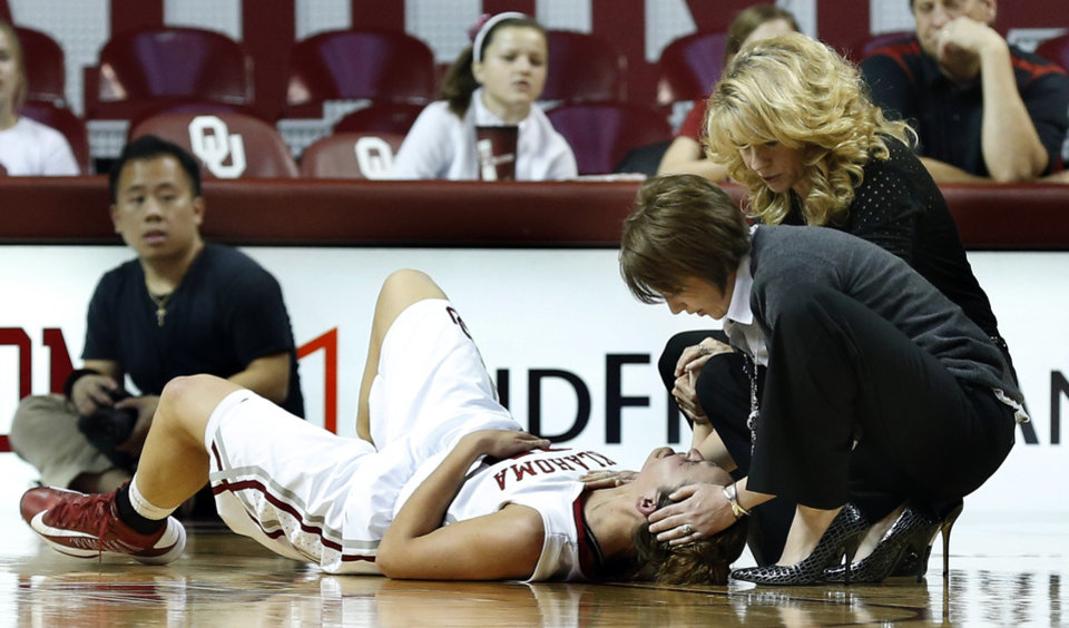 Whitney Hand is attended to by trainer Carolyn Loon and head coach Sherri Coale following an injury during the Sooners' game vs. North Texas on Dec. 6, 2012. Hand tore her left ACL on the play, likely ending her collegiate career. PHOTO BY STEVE SISNEY, The Oklahoman