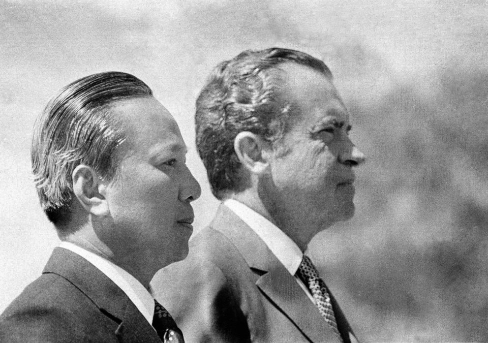 In this April 2, 1973 photo, President Richard Nixon and South Vietnamese President Nguyen Van Thieu are in profile as they listen to national anthems during arrival ceremonies for Thieu at the Western White House in San Clemente, Calif. As the last U.S. combat troops left Vietnam 40 years ago, angry protesters still awaited them at home. North Vietnamese soldiers took heart from their foes' departure, and South Vietnamese who had helped the Americans feared for the future. While the fall of Saigon two years later � with its indelible images of frantic helicopter evacuations � is remembered as the final day of the Vietnam War, Friday marks an anniversary that holds greater meaning for many who fought, protested or otherwise lived it. (AP Photo)