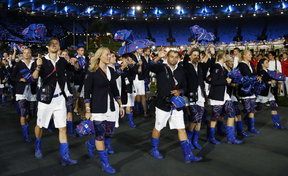 Photo -   Athletes from Czech Republic parade during the Opening Ceremony at the 2012 Summer Olympics, Friday, July 27, 2012, in London. (AP Photo/Matt Dunham)