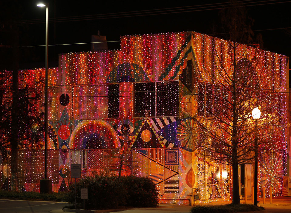 The Womb, one block off Broadway, is part of the Christmas lights along Broadway in Automobile Alley. Photo by Doug Hoke, The Oklahoman <strong>DOUG HOKE - THE OKLAHOMAN</strong>