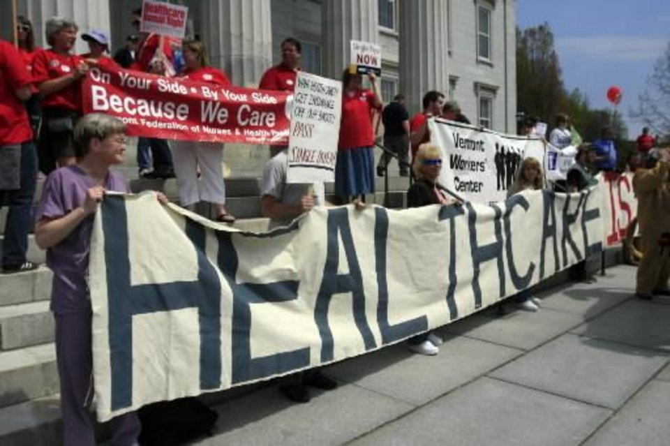 A banner is displayed reading, \' Health Care is a Human Right