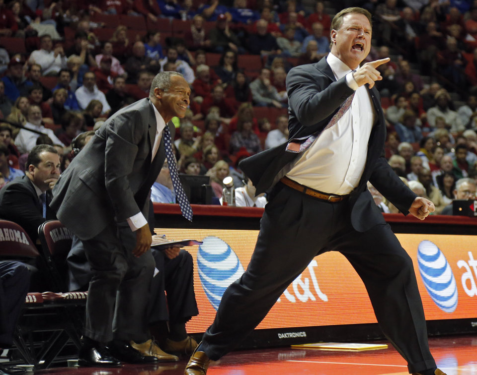 Photo - Kansas coach Bill Self reacts to a call by the officials during the NCAA college basketball game between the University of Oklahoma Sooners (OU) and the University of Kansas (KU) Jayhawks at Lloyd Nobel Center in Norman,  Okla. on Wednesday, Jan. 8, 2014.   .Photo by Chris Landsberger, The Oklahoman