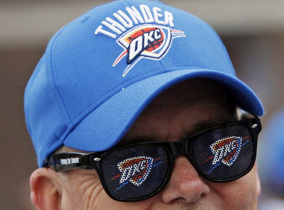 Gary Nelsen waits outside the arena before game one of the first round in the NBA playoffs between the Oklahoma City Thunder and the Dallas Mavericks at Chesapeake Energy Arena in Oklahoma City, Saturday, April 28, 2012. Photo by Nate Billings, The Oklahoman