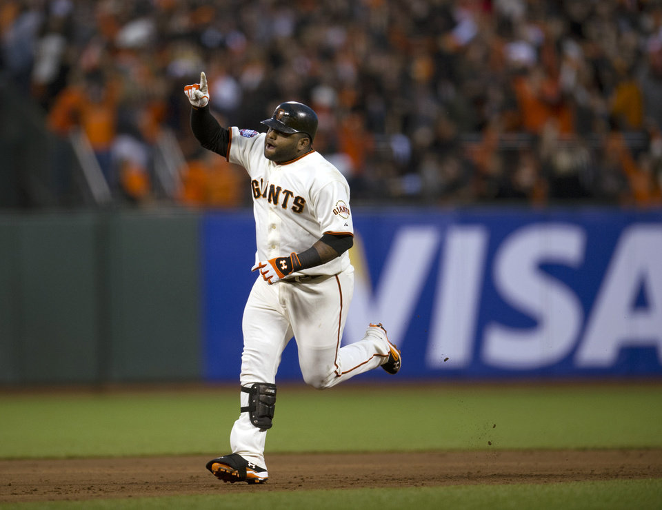 Photo -   San Francisco Giants' Pablo Sandoval rounds the bases after hitting his second home run against the Detroit Tigers during Game 1 of baseball's World Series, Wednesday, Oct. 24, 2012, in San Francisco. (AP Photo/The Sacramento Bee, Paul Kitagaki Jr.) MAGS OUT; TV OUT (KCRA3, KXTV10, KOVR13, KUVS19, KMAZ31, KTXL40) MANDATORY CREDIT