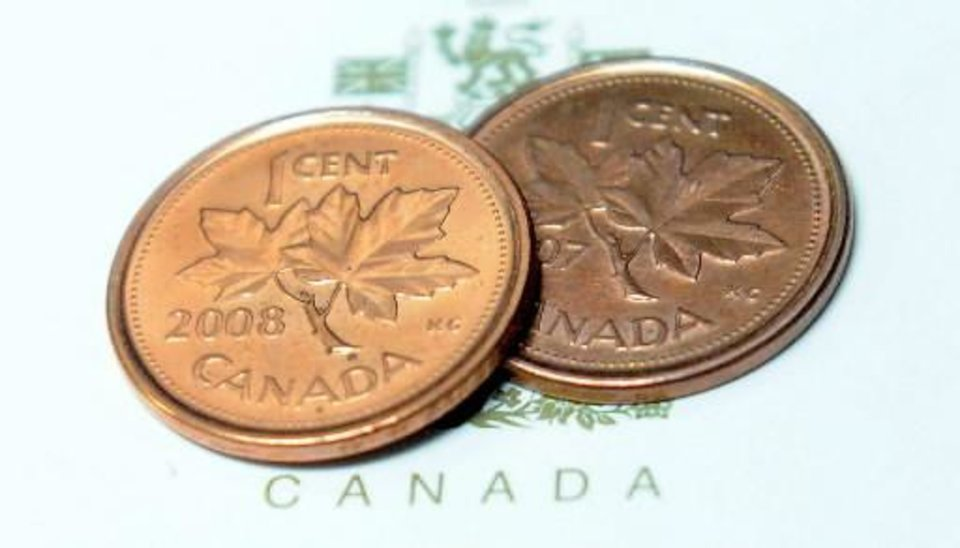 Pennies are shown in Ottawa on Thursday, March 29, 2012. The humble one-cent piece is set to disappear from Canadian pockets, a victim of inflation. Thursday\'s federal budget said the Royal Canadian Mint will strike the last of the little coins this fall. (AP Photo/The Canadian Press, Sean Kilpatrick)