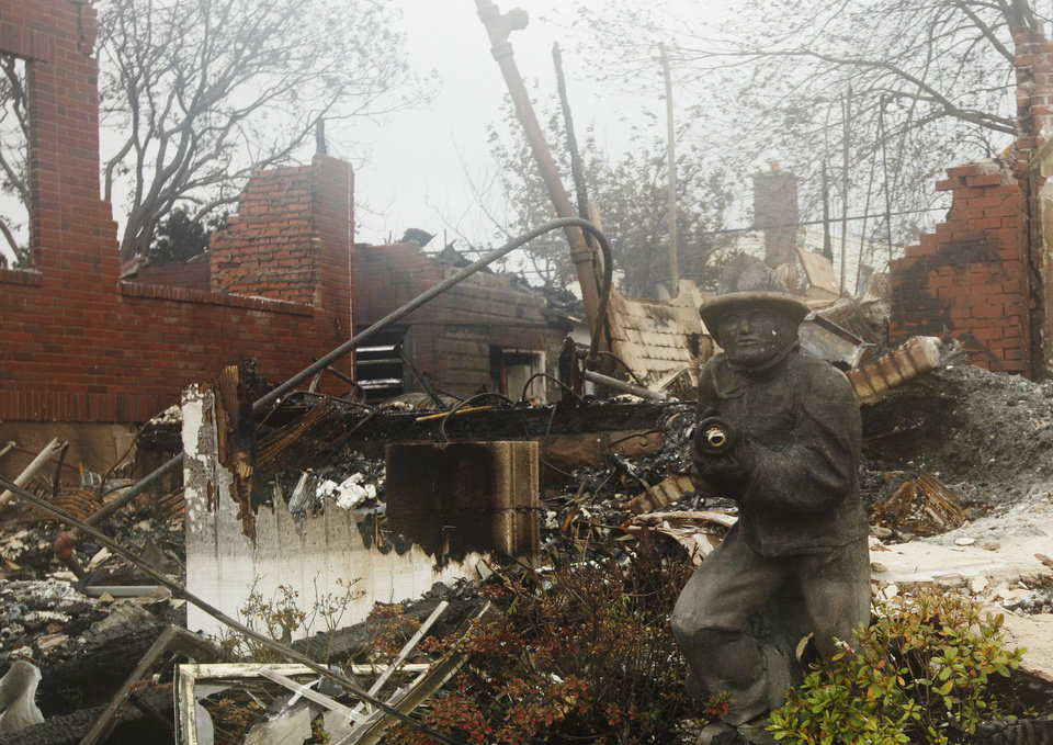 Photo -   A home damaged by fire is shown in the Belle Harbor neighborhood in the New York City borough of Queens Tuesday, Oct. 30, 2012, in New York. Sandy, the storm that made landfall Monday, caused multiple fatalities, halted mass transit and cut power to more than 6 million homes and businesses. (AP Photo/Frank Franklin II)