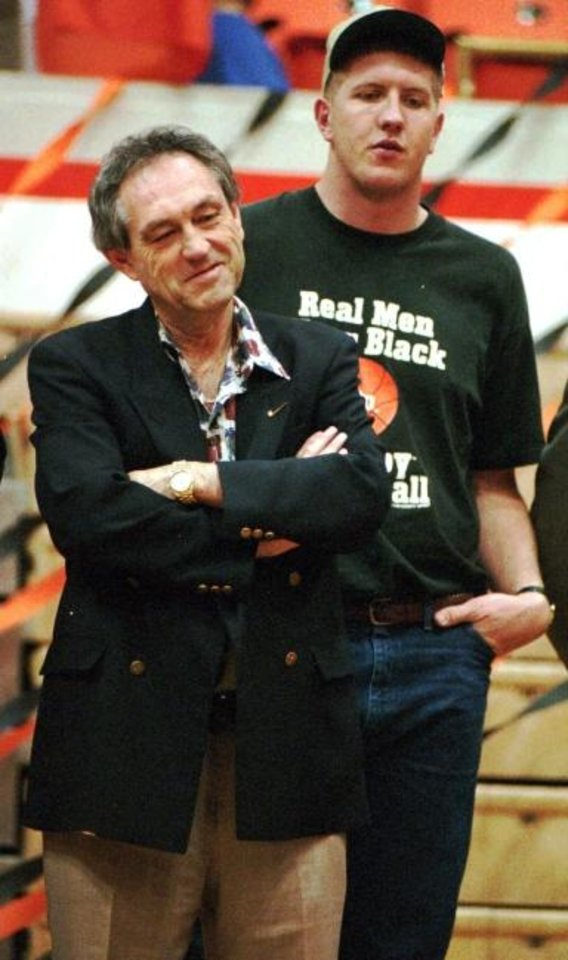 Photo -  OSU coach Eddie Sutton and Bryant Reeves during a 1995 pep rally on the Cowboys' Final Four run. [OKLAHOMAN ARCHIVES]