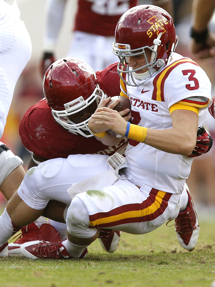 Oklahoma's Geneo Grissom (85) sacks Iowa State's Grant Rohach (3) during the college football game between the University of Oklahoma Sooners (OU) and the Iowa State University Cyclones (ISU) at Gaylord Family-Oklahoma Memorial Stadium in Norman, Okla. on Saturday, Nov. 16, 2013. Photo by Chris Landsberger, The Oklahoman
